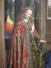 The Archangel Gabriel in a cope with a jewelled morse in Jan van Eyck's Annunciation, 1434–36, by I, Sailko (CC BY-SA 3.0 https://commons.wikimedia.org/w/index.php?curid=11785556)